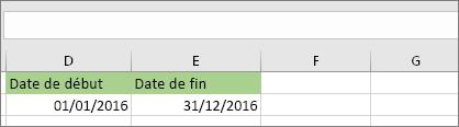 La date de début dans la cellule D53 est 01/01/2016; la date de fin dans la cellule E53 est 31/12/2016
