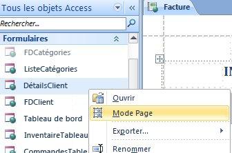 ouvrir un formulaire ou un rapport Web en mode page