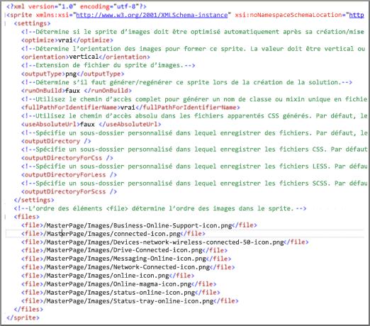 Capture d'écran d'un fichier XML de sprite