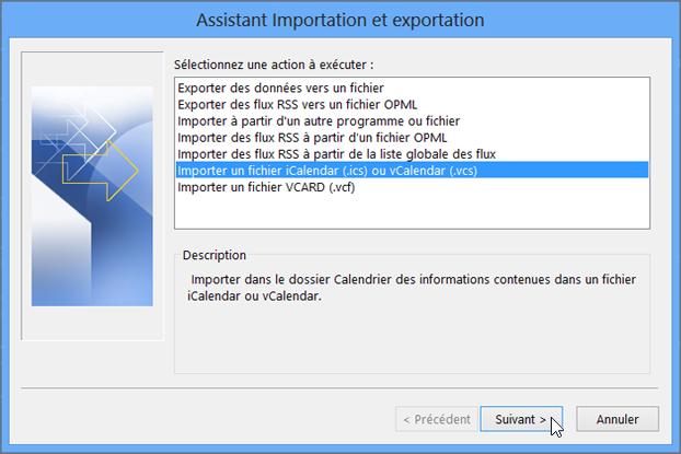 Sélectionnez Importer un fichier iCalendar ou vCalendar.