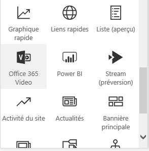 Capture d'écran du bouton du menu Vidéo Office365 dans SharePoint.