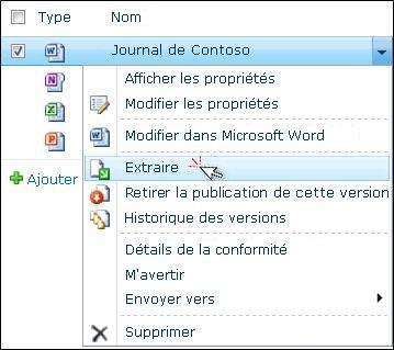 Liste déroulante pour un fichier Word sélectionné dans une liste SharePoint. L'option «Extraire» est mise en surbrillance.