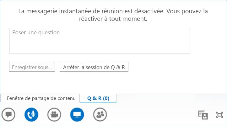 Capture d'écran du Présentateur Questions/Réponses