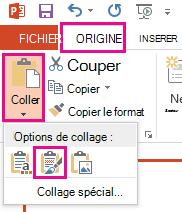 Dans le menu coller, sélectionnez l'icône conserver la mise en forme source.