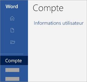 Capture d'écran de la zone de compte dans une application Office