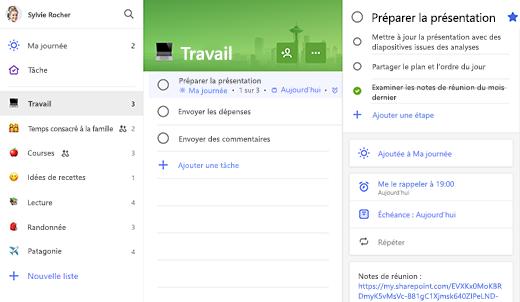 Capture d'écran de la liste Work avec affichage détaillé de Prep for presentation