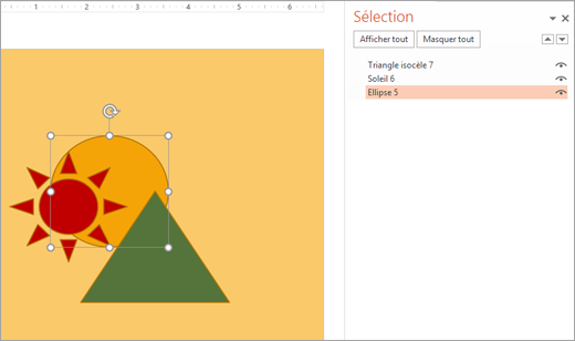 Sélection d'un objet empilé en utilisant le volet sélection