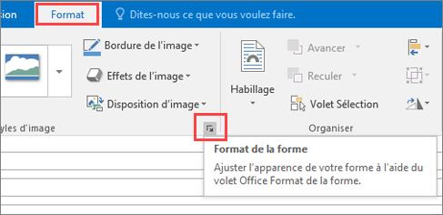 Capture d'écran de l'interface utilisateur d'Outlook affichant l'onglet Format ainsi que l'option Format de la forme sélectionnée.