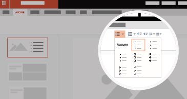 Diapositive avec zone agrandie montrant les options de liste et de puce disponibles
