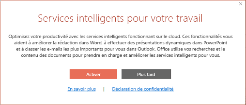 Boîte de dialogue d'activation des services intelligents Office
