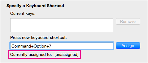 Word détecte la sélection d'une combinaison de touches non affectée à une commande ou une macro.