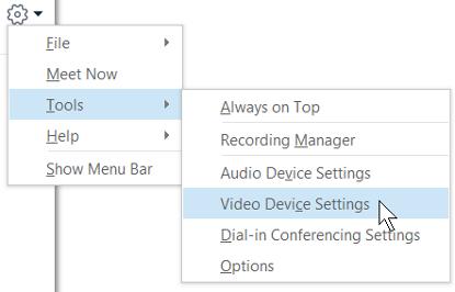 Capture d'écran des options vidéo