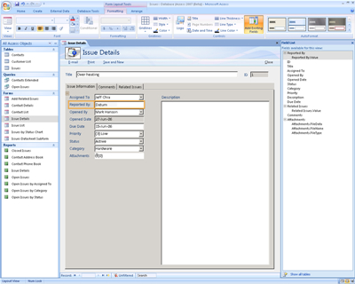 Modification de formulaires dans Office Access 2007