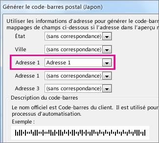 Champs de la zone Générer un code-barres postal