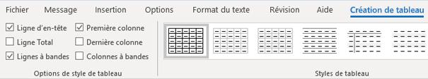 Groupe styles de tableau de création de tableau Outlook pour Windows