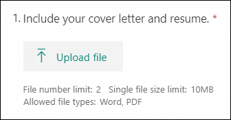 Question dans Microsoft Forms permettant de télécharger des fichiers