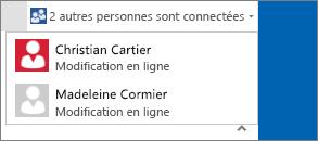 Boîte de dialogue avec menu déroulant indiquant la personne en train de modifier un document