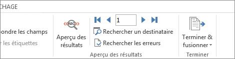 Capture d'écran de l'onglet Publipostage dans Word, montrant le groupe Aperçu des résultats