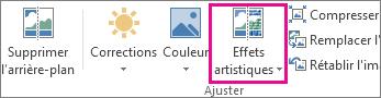 Effets artistiques dans le groupe Ajuster sous l'onglet Outils Image