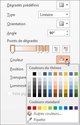 Modifier la couleur de chaque point de dégradé