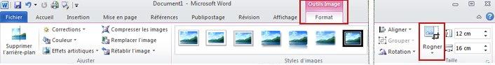 Ruban Outils Image, onglet Format, commande Rogner