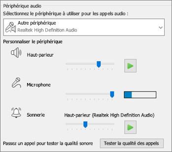 Paramètres personnalisés (haut-parleur, micro, sonnerie) du périphérique audio