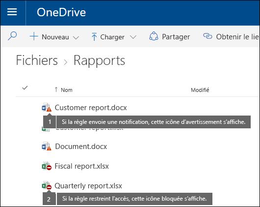 Icônes de Conseil de stratégie sur des documents dans un compte OneDrive
