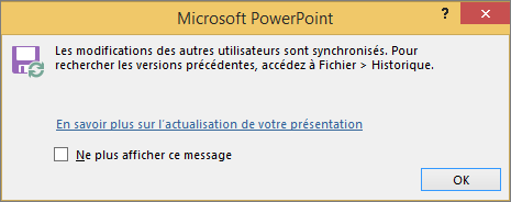 Message Modifications synchronisées dans PowerPoint