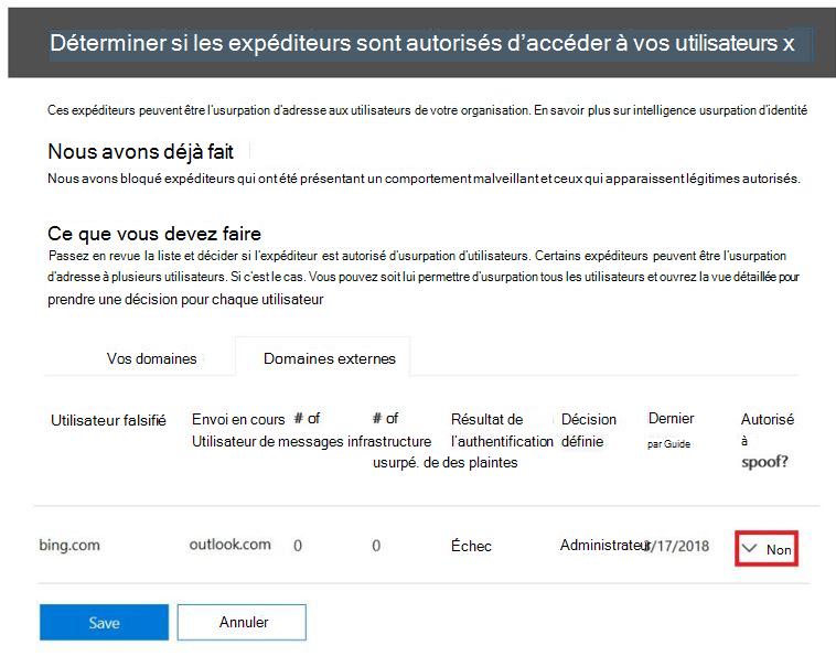La configuration antispoofing expéditeurs autorisé