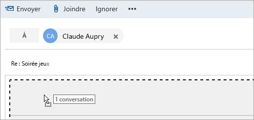 Capture d'écran d'un message glissé vers le volet Composer