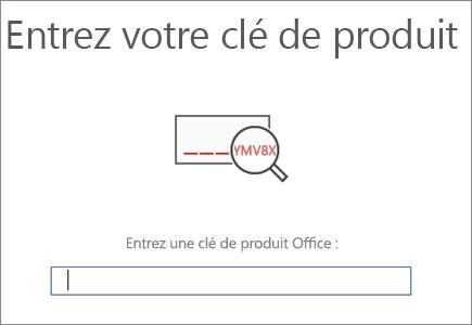 Affiche l'écran dans lequel vous entrez votre clé de produit Office.