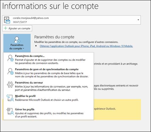 Vous disposez de plusieurs types de paramètres de compte que vous pouvez modifier dans Outlook.