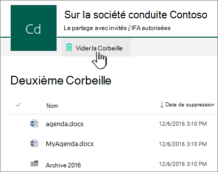 SharePoint Online 2ème niveau Corbeille avec le bouton de la Corbeille vider la Corbeille mis en surbrillance