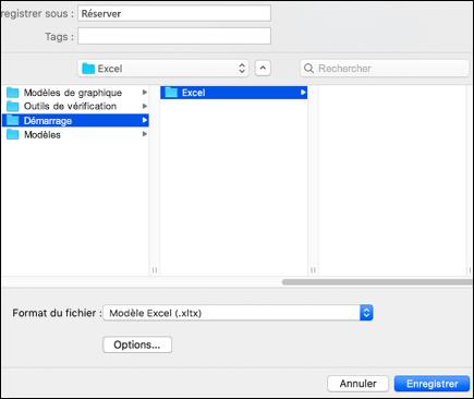 Dans les résultats de la recherche, double-cliquez sur le dossier démarrage, double-cliquez sur le dossier Excel, puis cliquez sur Enregistrer.