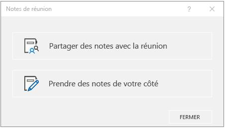 Boîte de dialogue Notes de réunion OneNote