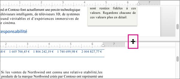 Vous pouvez fractionner la fenêtre pour afficher différentes parties du même document, et pour afficher différentes vues.