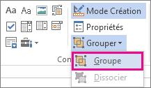 contrôles Grouper du mode Développeur