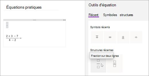 OneNote enregistre les symboles et structures que vous avez sélectionnés récemment. Sélectionnez récents pour les afficher et les utiliser.