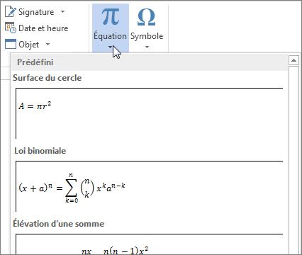 Insérer une équation
