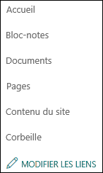 Menu gauche de SharePoint