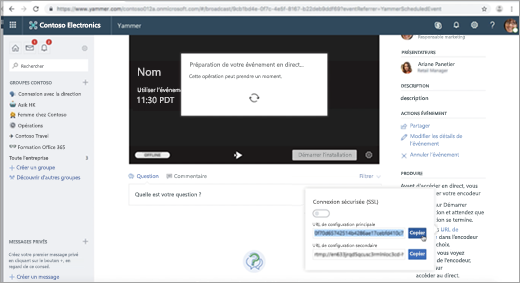 Page affichée lorsque l'événement de Yammer Live est configuré pour l'encodeur externe