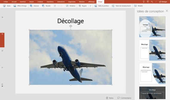 Lorsque vous sélectionnez une idée de conception, celle-ci apparaît immédiatement en taille réelle sur la diapositive