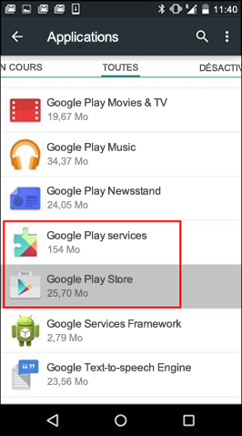 Vider le cache de l'application Google Play Store