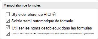 Fichier > Options > formules > utilisation des formules > style de référence L1C1