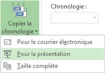 Menu et bouton Copier la chronologie dans Project