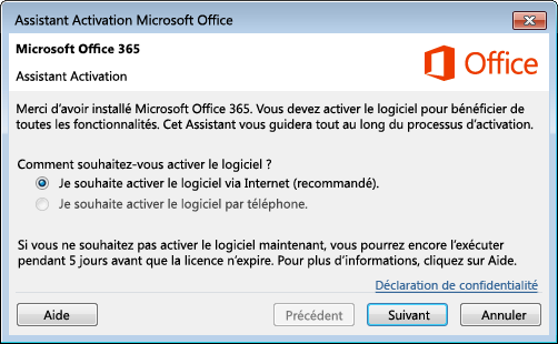 Assistant Activation pour Office 365