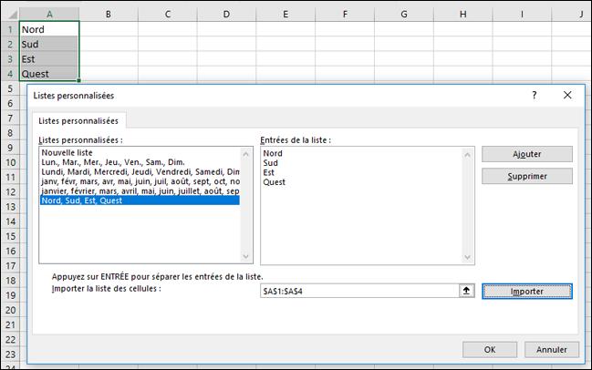 Boîte de dialogue Liste personnalisée de Fichier > Options > Options avancées > Général > Modifier les listes personnalisées. Pour Excel 2007, cliquez sur le bouton Office > Options Excel > Populaires > Modifier les listes personnalisées.