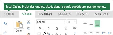 Onglet Accueil, Insertion, Données, Affichage dans Excel Online