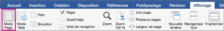 Sélectionnez le mode page pour créer et modifier des objets, tels que des formes et zones de texte.