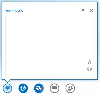 Capture d'écran de la fenêtre de messagerie instantanée qui s'affiche lorsque vous pointez sur le bouton Messagerie instantanée